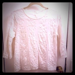 J. Crew Size S White Embroidered 3/4 length shirt